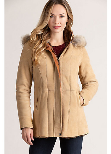 Sarah Hooded Spanish Merino Shearling Sheepskin Jacket