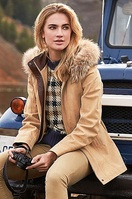 Dana Italian Calfskin Leather Coat with Coyote Fur Trim