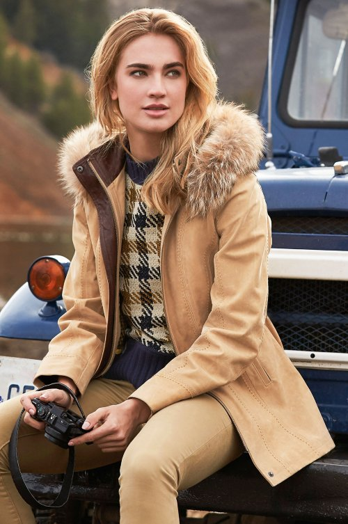 Dana Italian Calfskin Leather Coat with Coyote Fur Trim