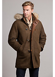 Salzburg Hooded Spanish Merino Shearling Sheepskin Coat with Coyote Fur Trim
