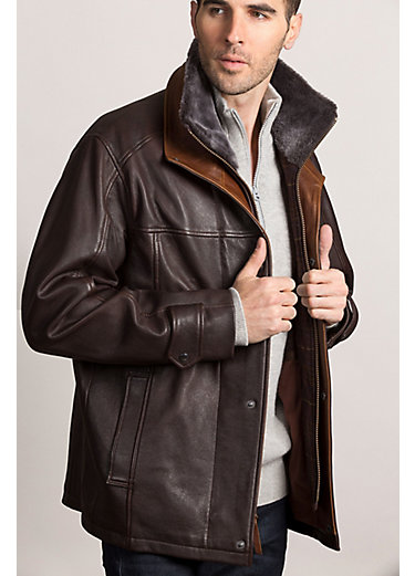 Galaway Lambskin Leather Jacket with Detachable Shearling Collar