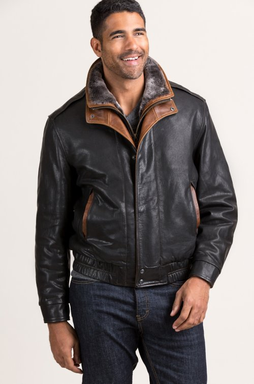 Armstrong Lambskin Leather Bomber Jacket with Shearling Lining
