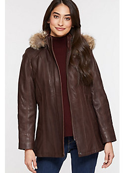 Dana African Lambskin Leather Coat with Coyote Fur Trim