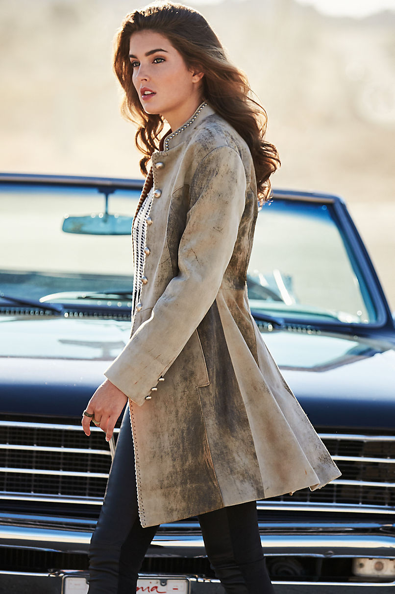 Zena New Zealand Lambskin Leather Frock Coat