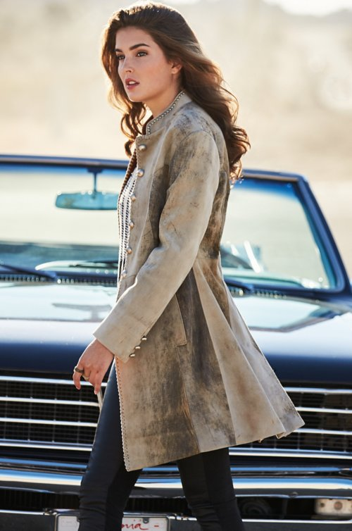 Zena New Zealand Lambskin Leather Frock Coat