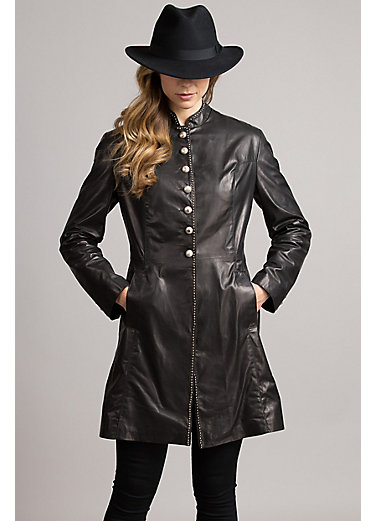 Zena Frock Italian Lambskin Leather Coat
