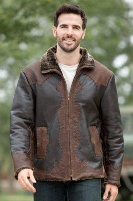 Leonard Shearling Sheepskin Jacket with Leather Overlays