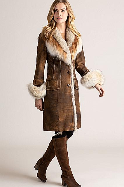 Georgia Distressed Lambskin Leather Coat with Coyote Fur Trim