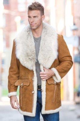 Arthur Shearling Sheepskin Coat with Coyote Fur Collar