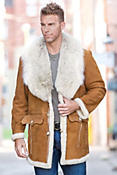 Arthur Shearling Sheepskin Coat with Coyote Fur Collar
