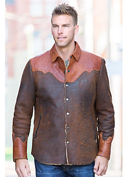 Jacoby Distressed Shearling Sheepskin Shirt Jacket