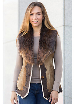 Mamie Shearling Sheepskin Vest with Wrinkle Leather Border and Beaver Fur