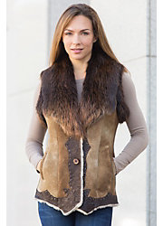 Mamie Shearling Sheepskin Vest with Leather and Beaver Fur Trim