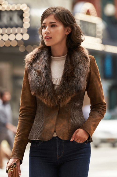 Savannah Lambskin Leather Jacket with Beaver Fur Collar