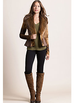 Wren Lambskin Short Leather Jacket with Beaver Fur Collar