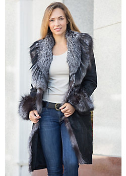 Jovanna Italian Lambskin Leather Coat with Silver Fox Fur Trim