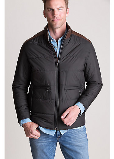 George Quilted Thinsulate Jacket with Leather Trim