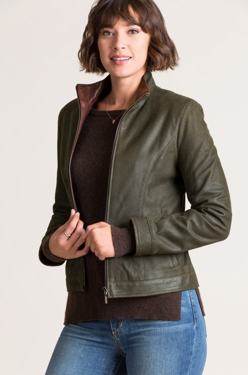 Molly Distressed Lambskin Leather Jacket