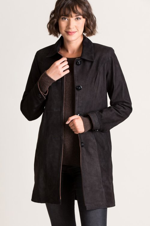 Simone Italian Nubuck Lambskin Leather Swing Coat