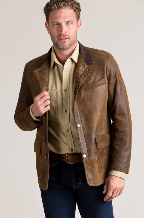 Ronald Distressed Lambskin Leather Blazer Jacket