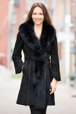 Felicity Suede Leather Coat with Fox Fur Trim