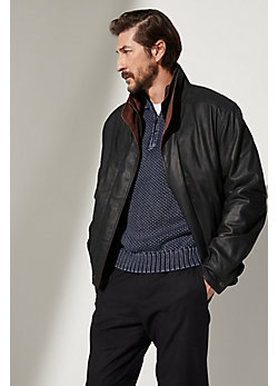 Landon Lambskin Leather Bomber Jacket