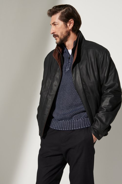 f908e60641f66 Landon Lambskin Leather Bomber Jacket