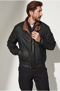 Landon Lambskin Leather Bomber Jacket - Tall (40L - 46L)
