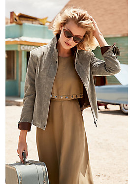 Rita Distressed Lambskin Leather Bomber Jacket