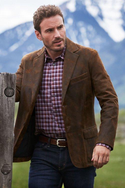 Canyon 2-Button Distressed Lambskin Leather Blazer