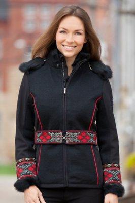 Dale of Norway Vinje Wool-Blend Ski Jacket with Rabbit Fur Trim