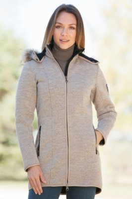 Dale of Norway Colorado Knitshell Wool Jacket with Raccoon Fur Trim
