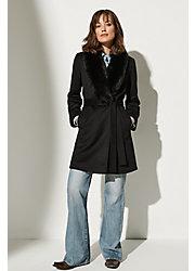 Gillian Loro Piana Wool Coat with Fox Fur Collar