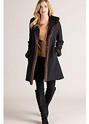 Abbie Loro Piana Wool Coat with Spiral Mink Fur Trim