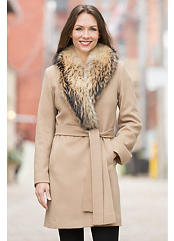 Quincy Loro Piana Wool Coat with Raccoon Fur Collar