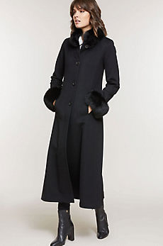 Lydia Loro Piana Wool Coat with Fox Fur Trim