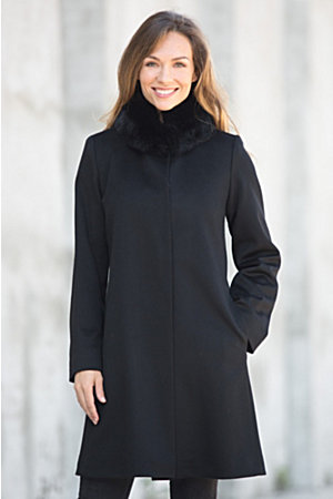 Magdalena Piacenza Wool Coat with Fox Fur Trim | Overland