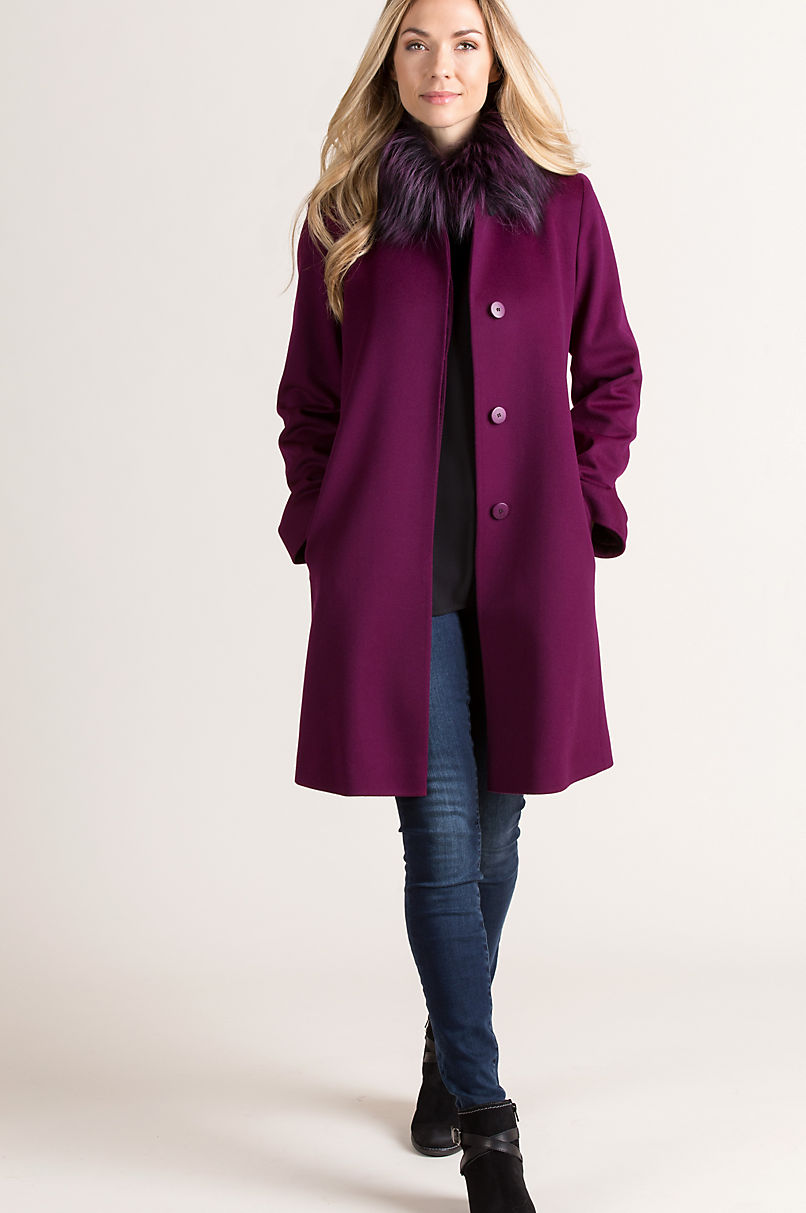Magdalena Piacenza Wool Coat with Fox Fur Trim
