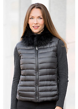 Cressida Reversible Wool-Blend Down Vest with Fox Fur Collar