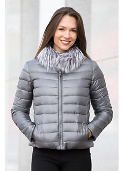 Iona Reversible Wool-Blend Down Jacket with Fox Fur Trim