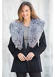 Marina Loro Piana Wool Coat with Silver Fox Fur Collar
