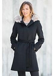 Darla Hooded Loro Piana Wool Coat with Fox Fur Trim