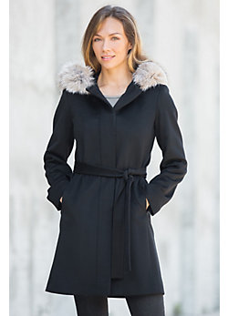 Darla Hooded Loro Piana Wool Coat with Fox Fur Trim