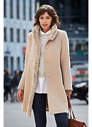 Aventura Piacenza Wool Coat with Rex Rabbit Fur Trim