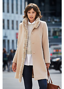 Aventura Piacenza Wool Coat with Rex Rabbit Fur Trim