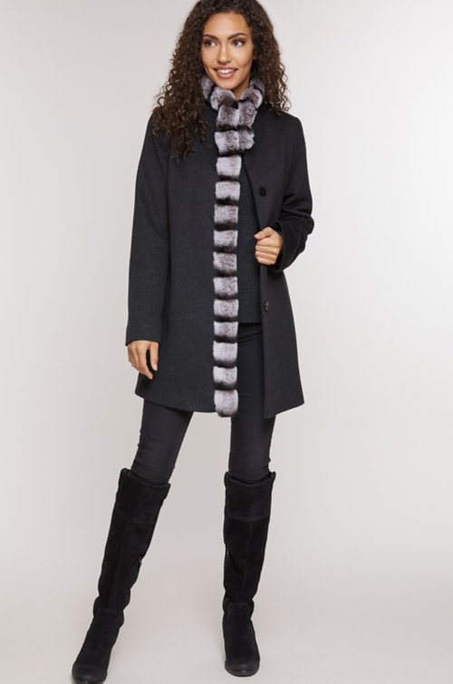 Vivian Loro Piana Wool Coat with Rex Rabbit Fur Trim