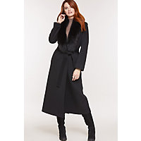Vintage Coats & Jackets | Retro Coats and Jackets Carrie Loro Piana Wool Coat with Fox Fur Trim BLACKBLACK Size 8 $1,595.00 AT vintagedancer.com