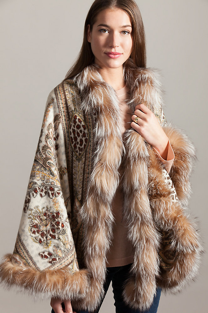 Alexa Cashmere-Blend Shawl with Crystal Fox Fur Trim
