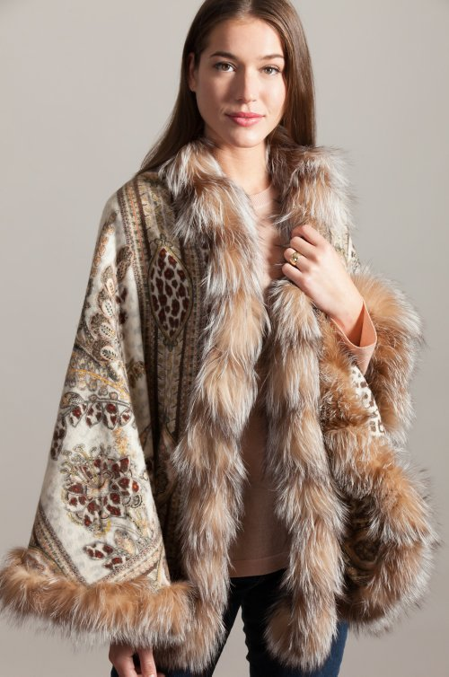 Alexa Cashmere-Blend Shawl with Crystal Fox Fur Trim