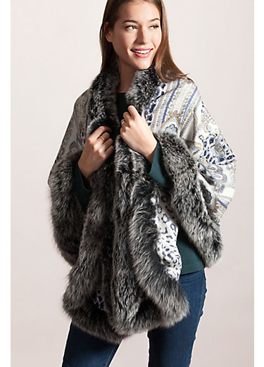 Amy Cashmere-Blend Shawl with Blue Fox Fur Trim